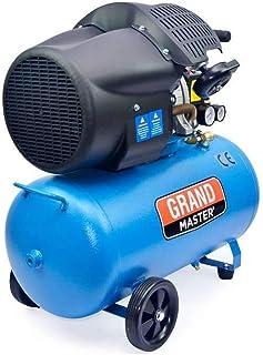 Grandmaster - Compresor de Aire 100 Litros 220V, Dos Cilindros 356L/min, 2200W/3cv, 8 Bares/116psi, Filtro de Aire, Velocidad 2850/min, Compresor Silencioso 92 dB, Válvula de Seguridad