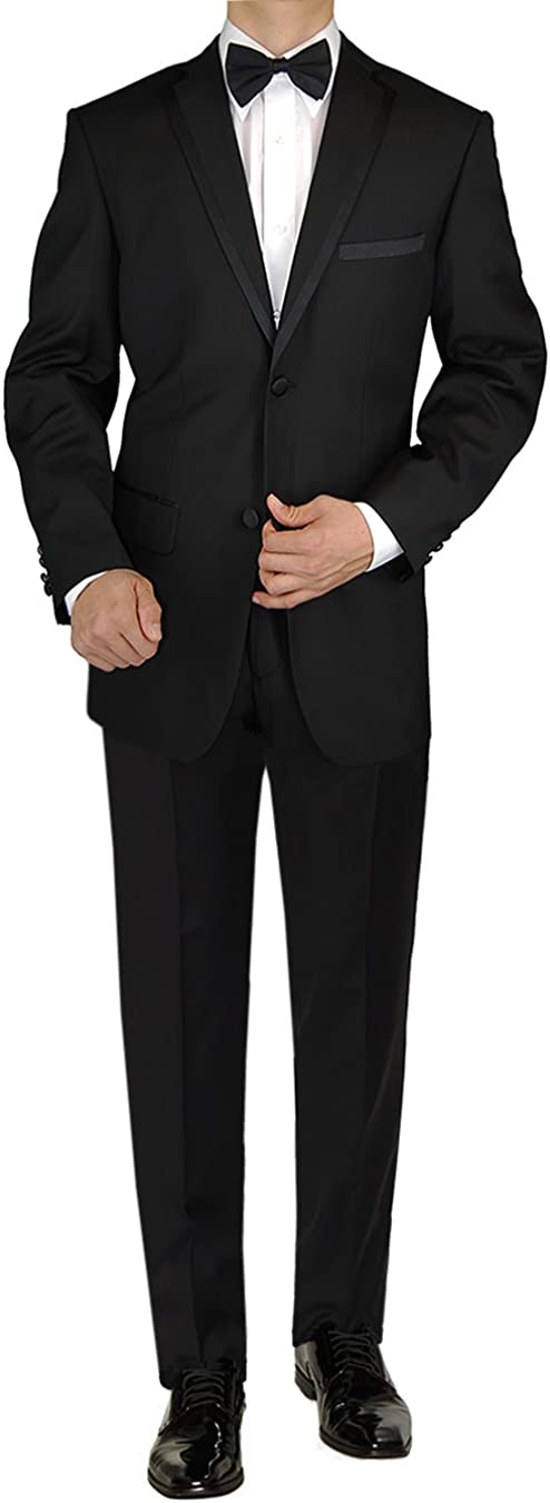 GN GIORGIO NAPOLI Men's Tuxedo Suit 2 Button Jacket Flat Front Adjustable Pant