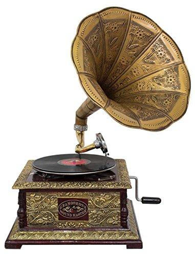 aubaho Nostalgie Grammophon Dekoration mit Trichter Grammofon Antik-Stil (l2)