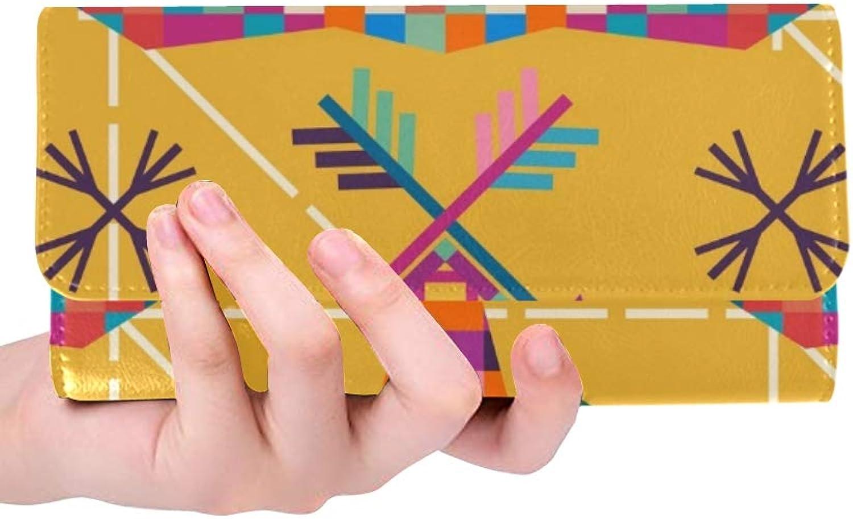 JOCHUAN Einzigartige benutzerdefinierte tierkopf elefanten dreieckige pixel icon frauen trifold brieftasche lange geldbörse krotitkarteninhaber fall handtasche B07Q852WFP