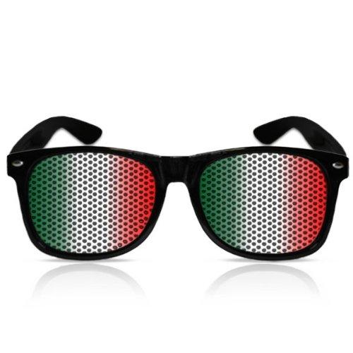 Partybrillen beklebte Pilotenbrillen bedruckte Sonnenbrillen mit Motiv Promotionbrillen EM WM Fanartikel Weltmeisterschaft Brille - Italien Flagge (Schwarz)