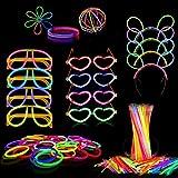 PARTYLANDIA Glow Party Box - Kit para fiesta con bastones luminosos fluorescentes Starlight (pulseras, gafas, diademas Mickey Mouse, pendientes) 260/268 unidades (260 unidades)
