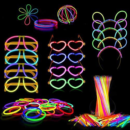 PARTYLANDIA Glow Party Box, Kit per Festa con Bastoncini Luminosi Fluorescenti Starlight (Bracciali, Occhiali, Cerchietti Topolino, Orecchini) 260/268 pz (260 pz)