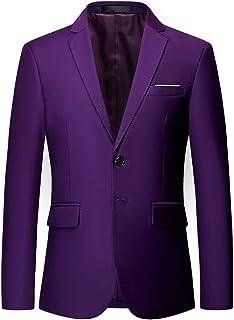 MOGU Mens Single Breasted Two Button Solid Color Banquet Blazer