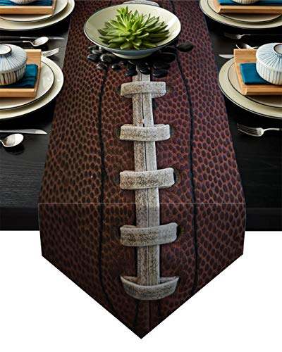 JEANCZ Table Runner Rugby Ball Sports Photo Cotton Linen Runners for Indoor and Outdoor Parties, Family Dinner 14x72 Inches