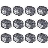 Tidyard Focos de jardín con Forma de Roca energía Solar LED 12 Unidades Gris,7,5 x 6 x 6 cm