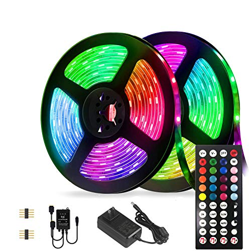Led Strip Lights Kit,32.8ft Waterproof Flexible Tape Light,Color Changing 5050 RGB 300 LEDs Light Strip Rope Lights with Timing Function,for Party,Bedroom,Bar,Home Decoration,with IR Remote