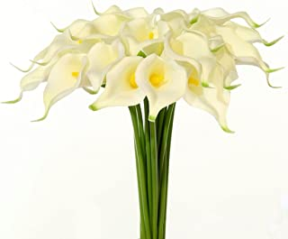 JUSTOYOU 20pcs Artificial Calla Lily Real Touch Flower for Bride Wedding Home(White-Yellow Core)