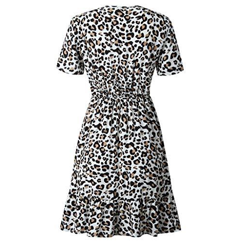 Vestidos para Mujer,Elegante Fiesta Sexys Vestidos Vestido de Cóctel Leopardo Cuello en v Vestido de Noche Vestido Moda Slim Fit Vestidos Corta Manga Corta vpass