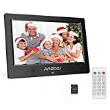 Andoer Cornice Digitale 10.1 pollici HD TFT-LCD (1024 * 600) Schermo con 8GB Scheda di Memoria Cornice Foto Digitale Telecomando Calendario Sveglia Music MP3 MP4 di Film Digitale Movie Player (Nero)