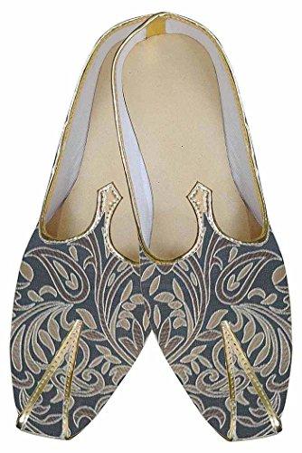 INMONARCH Herren Grau spektakuläre Indische Hochzeit Schuhe MJ0182S6 38 Dunkel-grau