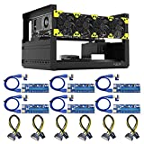 Ethereum Mining Rig Frame 6 GPU with 4 Fans and 6 Adapter for Ethereum(ETH,ETC)/ZCash(ZEC)/Monero(XMR)/Bitcoin(BTC)/Siacoin(SC)(6GPU-T2+4Fans+6Adapter)