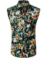 JOGAL Men's Sleeveless Flower Casual Button Down Hawaiian Shirt (Yellow, Medium)