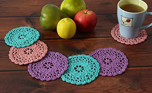 Sottobicchieri colorati di cotone rotondi a uncinetto, set di 6 centrini