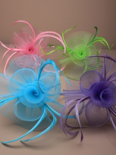crysta innovations REF 4320 (purple) Centre net flower and feather fascinator on a narrow aliceband by crystal innovations