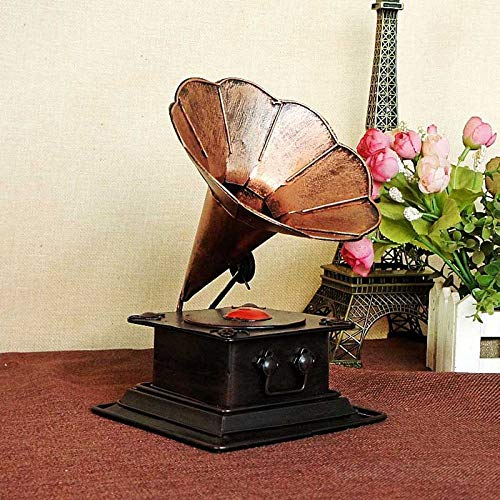 XJRG Hoofddecoraties, moderne creativiteit ijzer gramofoon figuur huis decoratie tv-kast wijnkast accessoires Office Desktop ornament bruin