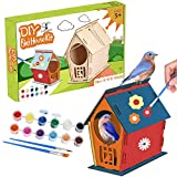YISUYA DIY Birdhouse Kit for Kids to Build, Unfinished Birdhouses to Paint for Outdoors Hanging, Arts and Crafts kit for Kids, Large Size H24 L19 W18 cm