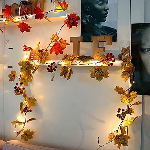 78.7 pulgadas con luces LED de hojas de arce, decoración de acción de gracias, luces de hojas de arce con pilas (20 LED), luces de guirnalda de otoño de acción de gracias para fiestas, interiores y