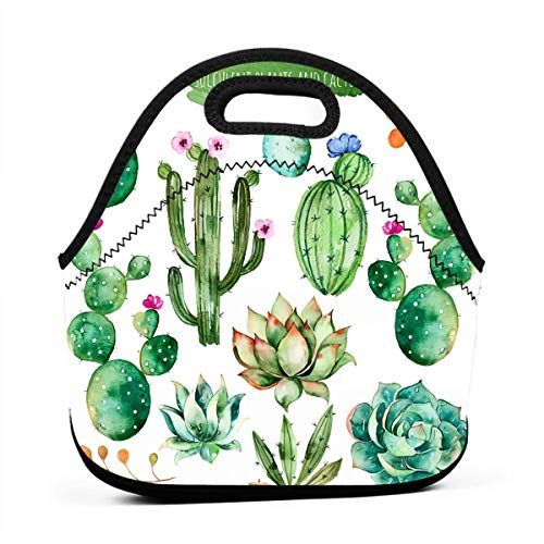 Watercolor Elements Succulent Plants Cactus Insulated Neoprene Lunch Bag Insulated Lunch Box Tote for Women Men Adult Kids Teens Boys Teenage Girls Toddler