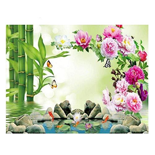 YISANWU Pintar por número Juegos Juegos DIY Pinceles Adultos niños Pinturas Decoraciones al óleo Animal,Arroyo del Bosque de bambú,40x50cm Pared decoración Picture Pintar Kit