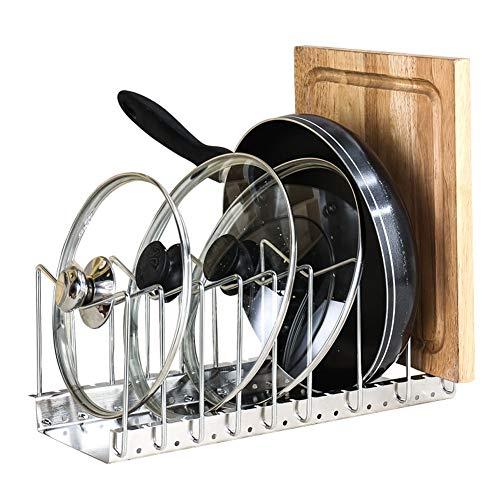 Keuken Pan Standaard, multilayer roestvrij stalen frame, sterke belastbaarheid, opslag organisator rek multifunctioneel voor pannendeksel, snijplank, kookgereihouder. B 2