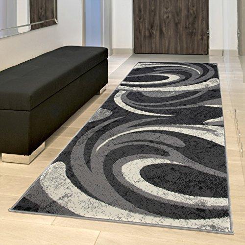 Tapiso Dream Alfombra de Pasillo Entrada Cocina Escalera Diseño Moderno Negro Gris Crema Ondas Fina Suave 70 x 300 cm