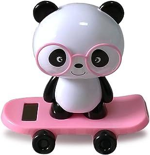 YGMONER Cute Panda Solar Powered Dancing Animal Swinging Animated Bobble Dancer Toy Car Decor (Pink)