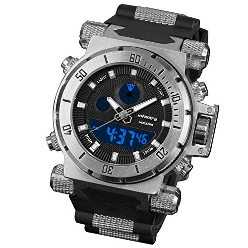 Infantry Herrenuhr Armbanduhr Männer Uhren Militär Uhr Herren Digitaluhren Tactical Outdoor Schwarz Gummi Armband