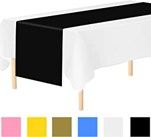 Aneco 6 Pack Disposable Table Runner 14 x 108 Inch Plastic Table Runner Decorative Table Runner for Indoor or Outdoor Parties Birthdays Weddings Christmas