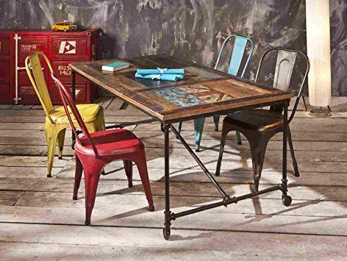 Tavolo moderno vitage stile in legno colorato a rotelle