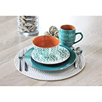 Viggo 16 Piece Dinnerware Set, Service for 4 (Turquoise)