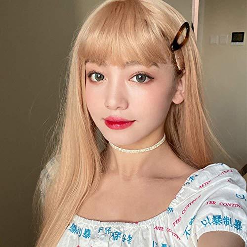 pruiken Pruik vrouwelijk lang steil haar Harajuku-stijl beige wit lang haar air pony reparatie gezicht volledige hoofddeksel