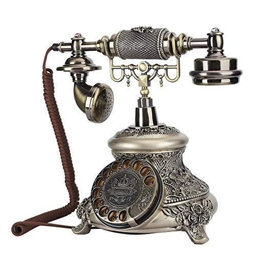 LDDZB Teléfono con cable retro,Resina clásica Vintage giratoria Dial antiguo rotación teléfono europeo,Vintage clásico teléfono fijo soporte re-dial