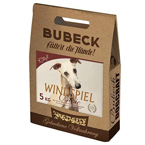 Bubeck Hundefutter | Windspiel Basic 5 Kg | glutenfreie Vollnahrung für Windhunde | mit Truthahn & Reismehl | gebackenes Hundetrockenfutter