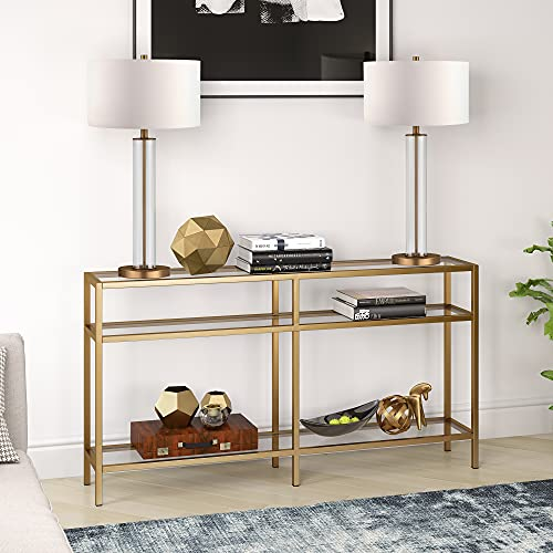 Henn&Hart Industrial Sofa, 3-Tier Open Shelf Entryway/Hallway Living Room, Multiple Colors/Sizes Console Table, 55', Gold