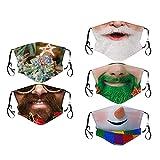 Bumplebee 5 Stück Erwachsene Mundschutz mit Motiv Weihnachten Lustig Waschbar Mund und Nasenschutz Cartoon Druck Maske Tücher Atmungsaktiv Mund-Tuch Bandana Halstuch Schal