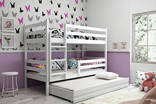Interbeds Etagenbett Eryk 3 (für DREI Kinder) 160x80cm Farbe: WEIß; mit Lattenroste und Matratzen (weiß + weiße Schublade)