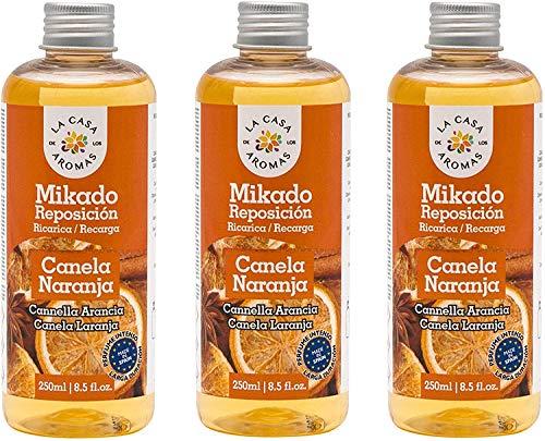 H HANSEL HOME Mikado Reposicion 250 Ml Sin Varillas (Canela Naranja, 3 Pcs)