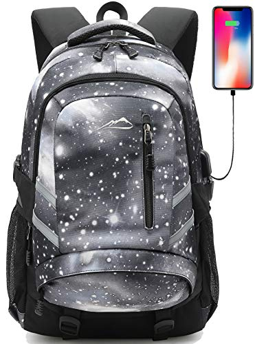 Backpack Bookbag for School College Student Sturdy Travel Business Laptop Compartment with USB Charging Port Luggage Chest Straps Night Light Reflective (Galaxy Color A01)