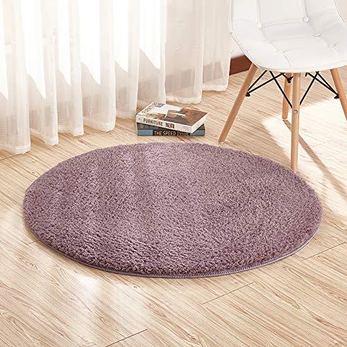 HEXIN Alfombra Moderna de salón y Dormitorio de Pelo Grueso Redondo Que no se desprende; la Alfombra Redonda y esponjosa te Hace Sentir cómodo y cálido (púrpura, 100x100cm)