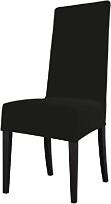 FUNINDIY Dining Chair Slipcovers Black Seat Protector Covers with Stretch Removable Washable for Home Room Hotel Ceremony Banquet Wedding
