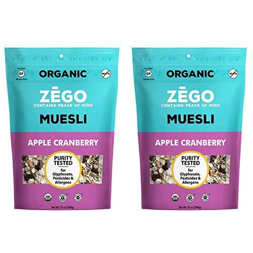 ZEGO Foods Organic Superfood Oatmeal & Muesli, Certified Gluten Free (Apple Cranberry) 13oz