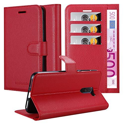Cadorabo Hülle für Xiaomi Pocophone F1 in Karmin ROT - Handyhülle mit Magnetverschluss, Standfunktion & Kartenfach - Hülle Cover Schutzhülle Etui Tasche Book Klapp Style