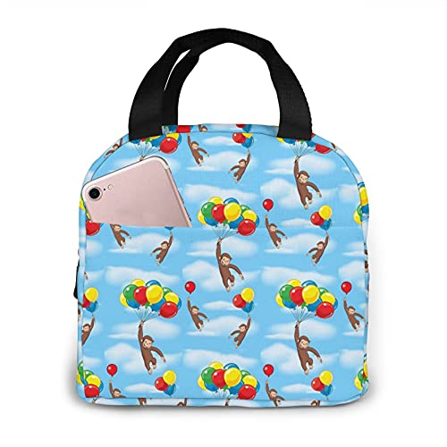 Curious George Lunch Bags Insulated Reusable Lunch Box Cooler Lunch Tote Handbag Leakproof Large Lunch Bag with Pocket for Work, College, Office, Picnic, Outdoor