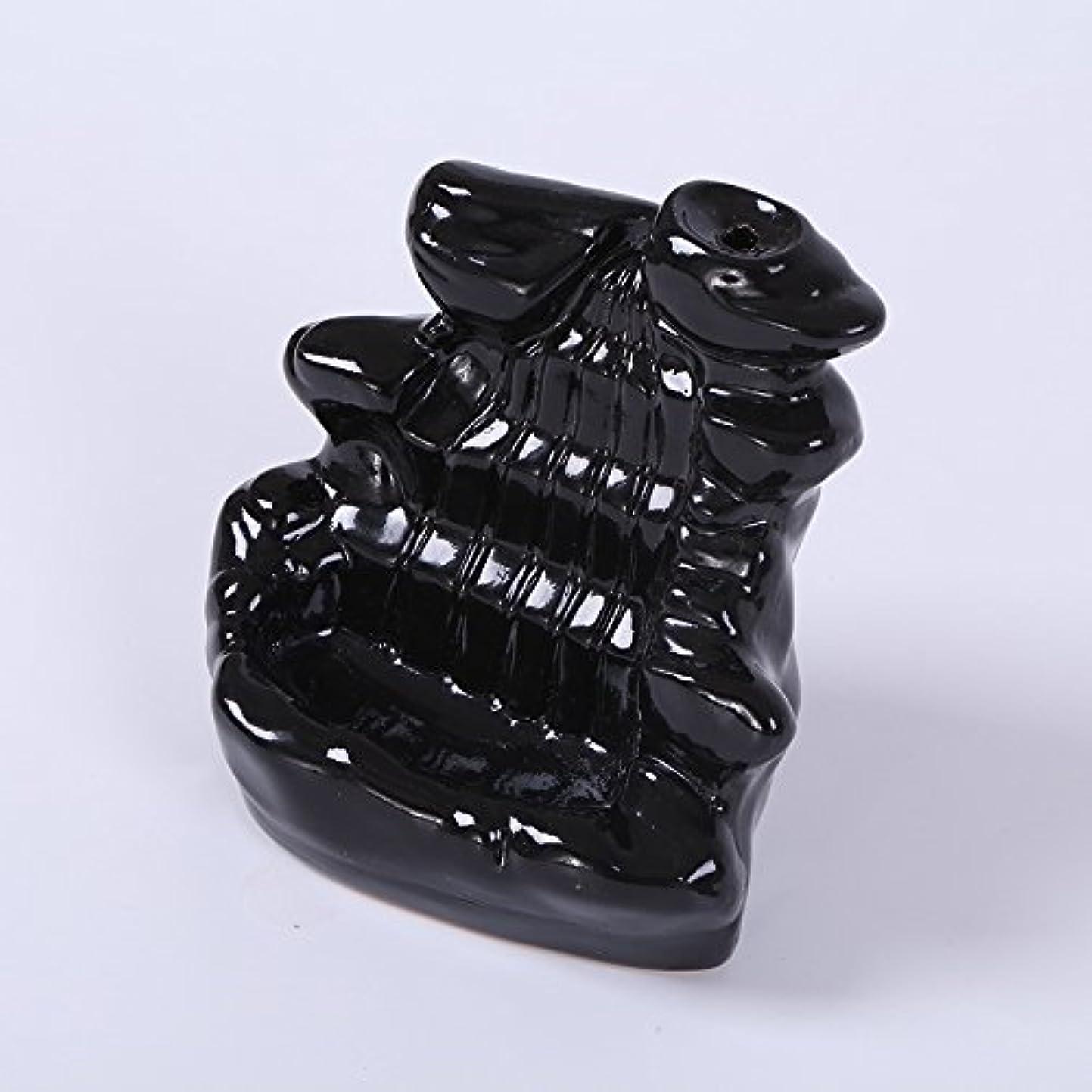 洞察力のある保安砂漠Kicode ブラック 滝の磁器の逆流 セラミックコーン 香炉 ホルダー仏教ホームオフィスデコレーション