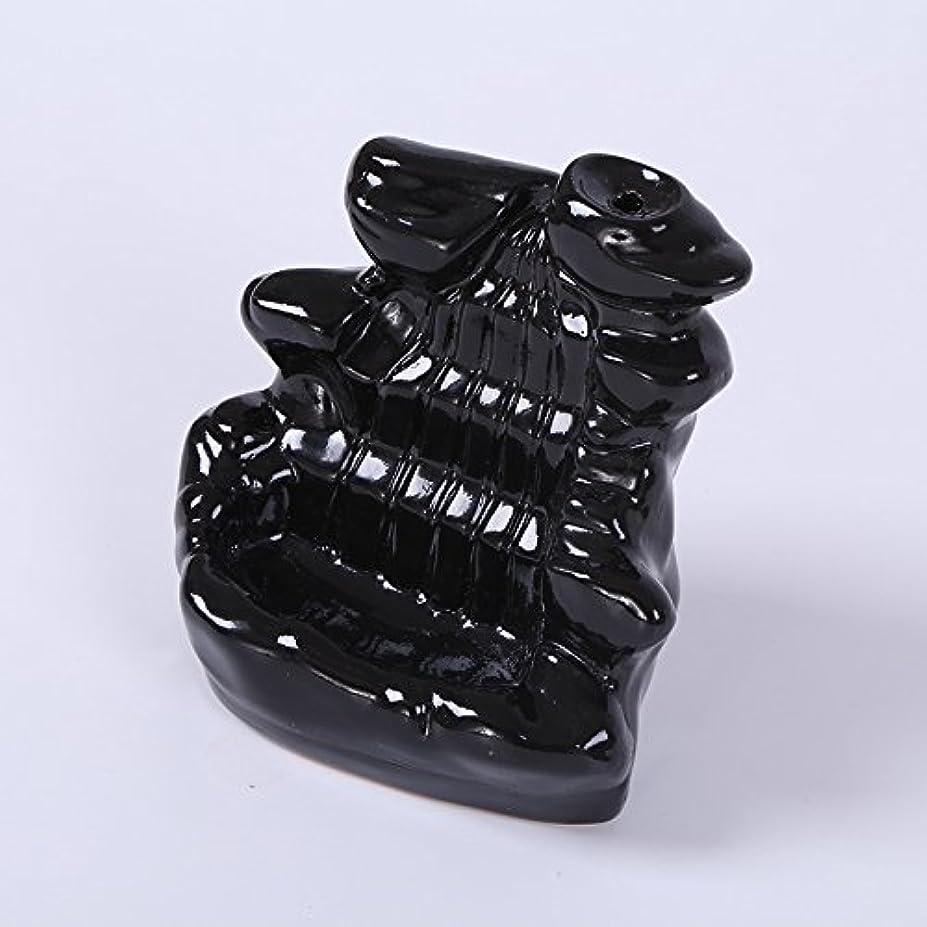 アブストラクトシェーバーナットKicode ブラック 滝の磁器の逆流 セラミックコーン 香炉 ホルダー仏教ホームオフィスデコレーション