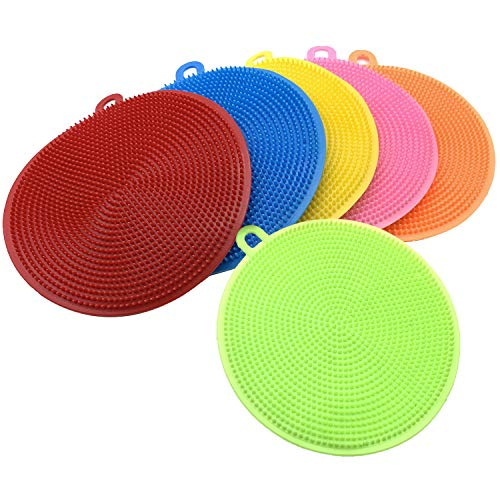 EIKOOSS 6 Pieces Silicone Scrubber Silicone Sponges Multipurpose Kitchen Scrub Brush for Dish Pot and Veggies Fruit Smart Kitchen Gadgets Brush Accessories.
