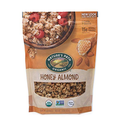Nature's Path Organic Gluten Free Honey Almond Granola, 11 Ounce, Non-GMO, 15g Whole Grains, with Omega-3 Rich Chia Seeds