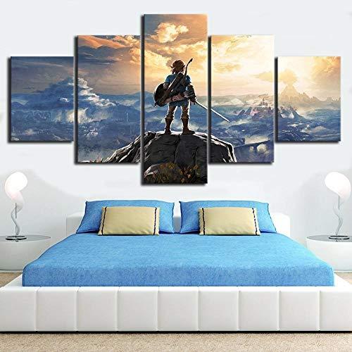 WLHZNB Impresiones sobre Lienzo 5 Paneles The Legend of Zelda Breath of The Wild Videojuego Poster Living Room Wall Art Painting Decoración del Hogar (Tamaño 2 Sin Marco)