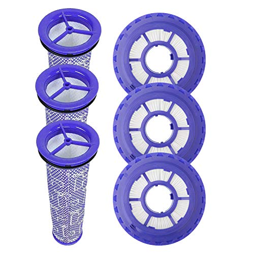 Replacement Filters for Dyson DC65 DC66 DC41 Animal, Multi Floor and Ball Vacuums, Replaces Part 920769-01 & 920640-01, 3 HEPA Filter and 3 Pre Filter (6)